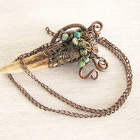 Antler Turquoise Copper Wire Wrapped Handmade Jewelry Deer Antler Jewelry