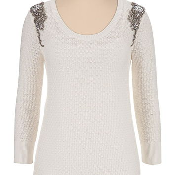 Embellished Shoulder Sweater