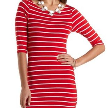 Striped Bodycon Dress by Charlotte Russe - Red Combo
