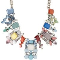Rainbow Faceted Stone Statement Necklace by Charlotte Russe - Multi