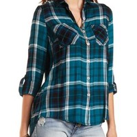 Flyaway Plaid Button-Up Tunic Top by Charlotte Russe - Dark Green Cmb