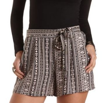 Sash-Belted Tribal Print High-Waisted Shorts - Black Combo