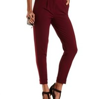 Singe Pleat High-Waisted Trousers by Charlotte Russe - Burgundy