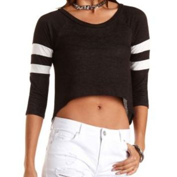 Cropped High-Low Varsity Tee by Charlotte Russe - Black Combo