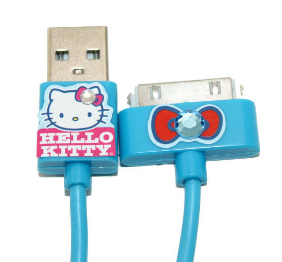 Blue Hello Kitty  Apple iPhone iPad iPod USB Cable Charger with Rhinestones