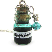 Wolfsbane potion vial Harry potter potion Glass bottle necklace