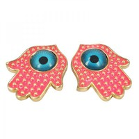 Pink Hamsa Hand Earrings on Luulla