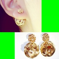 Twisted Golden Ball Fashion Ear Cuffs (Reversible Wearing)