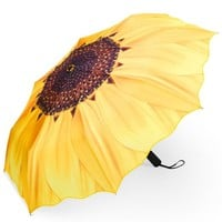 PLEMO Sunflower Automatic Folding Travel Umbrella