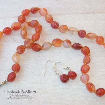 Carnelian necklace and earrings 18.5'', Statement necklace, Fall necklace, Jewelry set, Necklace for her, Gift for her, Stone jewelry