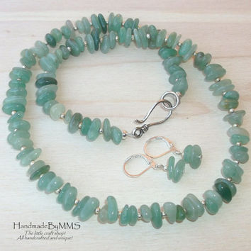 Aventurine necklace and earrings 20.5'', Statement jewelry, Jewelry set, Jewelry for her, Necklace for her, Stone jewelry, Gift for her