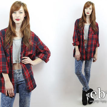 Vintage 90s Red Plaid Flannel Shirt S M L Oversized Flannel Shirt 90s Grunge Shirt 90s Flannel Shirt 90s Plaid Shirt 90s Flannel Shirt