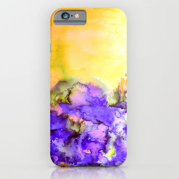 INTO ETERNITY, YELLOW AND LAVENDER PURPLE Colorful Watercolor Painting Abstract Art Floral Landscape iPhone & iPod Case by EbiEmporium