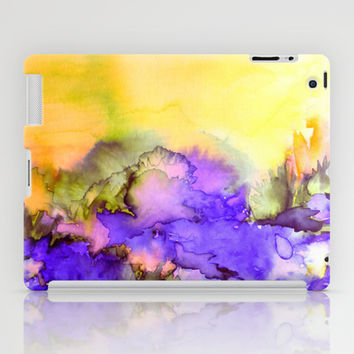 INTO ETERNITY, YELLOW AND LAVENDER PURPLE Colorful Watercolor Painting Abstract Art Floral Landscape iPad Case by EbiEmporium