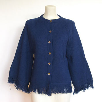 Vintage 1960s Mod / Navy Blue Cardigan Sweater with Fringe / Bell Sleeves