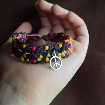 Beaded Hemp Bracelet Peace Sign Jewelry Hippie Hemp Bracelet Macrame Cuff Bracelet