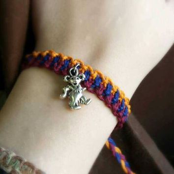 Grateful Dead Hemp Bracelet Dancing Bear Hippie Jewelry Deadhead Bracelet