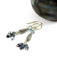 Handmade Silver Blue Earrings Swarovski Czech Glass Flowers Dangle