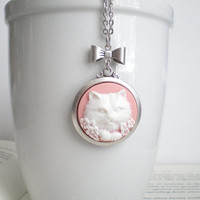 Cat Necklace. Cameo Necklace. Cat Lover Jewelry. Pet Jewelry. Silver Necklace. Bow Necklace.