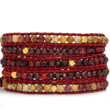 Red Precious Mix Wrap Bracelet on Natural Dark Red Leather - Red/garnet