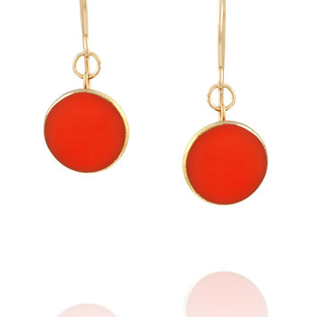 Coral Red Drop Earrings - Coral Red