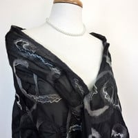Black Silk Wrap. Elegant Silver and Black Wool Felted Silk Stole.