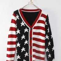 Stars and Stripes V Neck Sweater Black$42.00