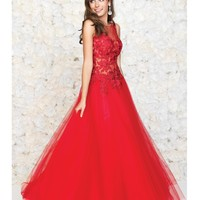 Madison James Red Embroidered Lace & Tulle Gown Prom 2015
