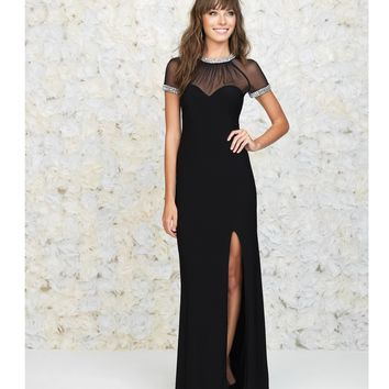 Madison James Black Sheer Cap Sleeve Open Back Gown Prom 2015 | Unique Prom