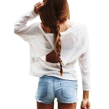 LookbookStore Fashion Womenx27s White Cutout Back Loose
