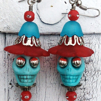 Turquoise Red Blue Sugar Skull Day Of The Dead Earrings Frida Kahlo Rockabilly Jewelry