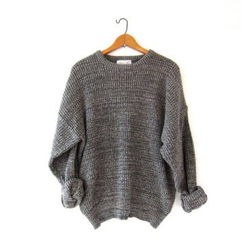 vintage speckled sweater. oversized slouchy pullover sweater.