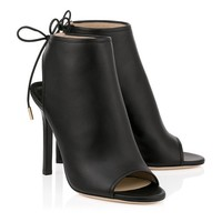 Black Nappa Leather Sandal Booties | Froze | Spring Summer 15 | JIMMY CHOO Shoes