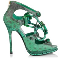Emerald Karung Sandals with Semi-Precious Stones | Madison | Cruise 15 Vices | JIMMY CHOO Vices