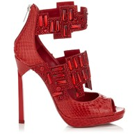 Ruby Shiny Elaphe Sandals with Crystals | Jing | Cruise 15 Vices | JIMMY CHOO Vices