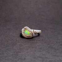 Ethiopian opal ring, flashy opal ring, triangle ring, silver ring, wire wrapped ring