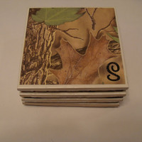 Set of 4 Monogrammed Coasters for Wedding Gift -- Camouflage -- Engagement Housewarming Home Decor