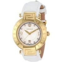 Versace Women's 68Q70SD498 S001 Reve 3 H Yellow-Gold Plated Leather Mother-Of-Pearl Diamond Watch - designer shoes, handbags, jewelry, watches, and fashion accessories | endless.com
