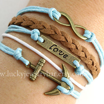 Infinity bracelet, love bracelet, anchor bracelet, braid leather bracelet, wax cords bracelet