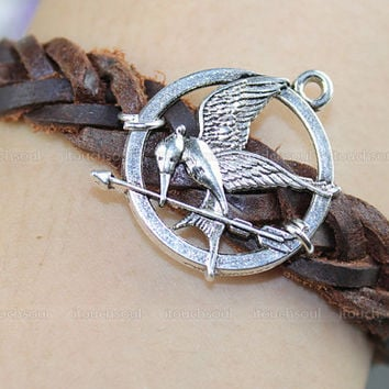 Hunger Game bracelet inspired Charm bracelet- Mockingjay pendant bracelet-Charm bracelet- braided leather bracelet