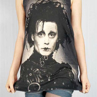 JOHNNY DEPP Edward Scissorhands 1990 Movie Black Tank Top Women T-Shirt Tunic Top Singlet Sleeveless Vest Top Johnny Depp T-Shirt Size M