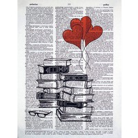 Book Lovers Stack Printed on a Vintage by glasslionstudio on Etsy