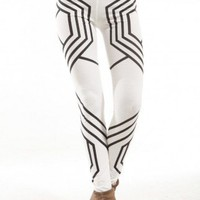 Geometric Jersey Leggings in White