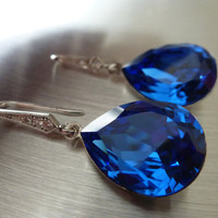 Blue Sapphire Earrings Crystal Teardrop Swarovski - Blue Wedding Jewelry Bridal Earrings Zirconia - LIMITED EDITION