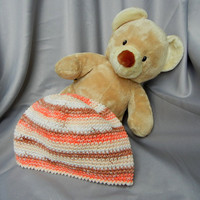 Crochet Cloche Cotton Brown White and Orange Stripe Adult