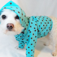 RockinDogs Turquoise and Brown Polkadot Knit Hoodie for Dogs
