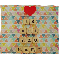 DENY Designs Home Accessories | Happee Monkee Love Is All You Need Fleece Throw Blanket