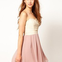 TFNC Dress Pleated Chiffon Bandeau Skater Dress at asos.com