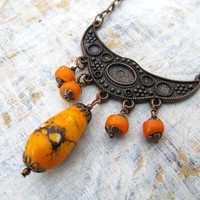Orange Bohemian necklace funky unique Bohemian jewelry