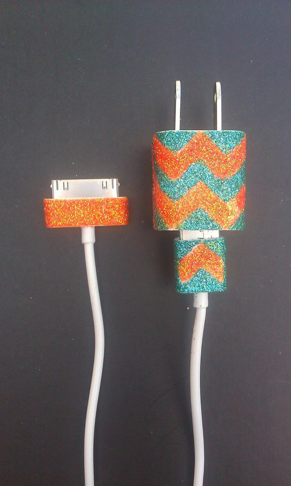Chevron Glitter iPhone Charger